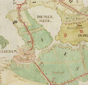Uitsnede uit de kaart van Amstelland door Jacob van Banchem, 1593, naar een origineel van Joost Jansz Beeldsnijder uit 1570. Aan de beide uiteinden van het rechte deel van de Amstel zijn duidelijk twee kolken te zien, de noordelijke (links) groter dan de zuidelijke. Erfgoed Leiden en omstreken.
