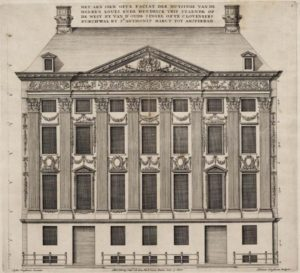 Justus Vingboons, Het aen sien ofte faciat der huysinge vande heeren Louys ende Hendrick Trip (Kloveniersburgwal 29), 1664. Ets. Stadsarchief Amsterdam (010001000902).
