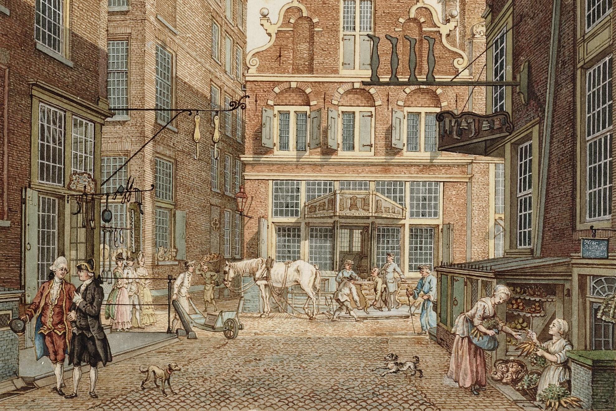Heiligeweg gezien naar de Kalverstraat met links de ingang van de Olieslagerssteeg. In het hoekhuis links een winkel in ijzerwaren met als uithangteken twee schaatsen. In het tegenoverliggende hoekhuis rechts een kousenwinkel met in het souterrain een groentenwinkel. Stadsarchief Amsterdam / Schouten, H. P. (Herman, 1747-1822)