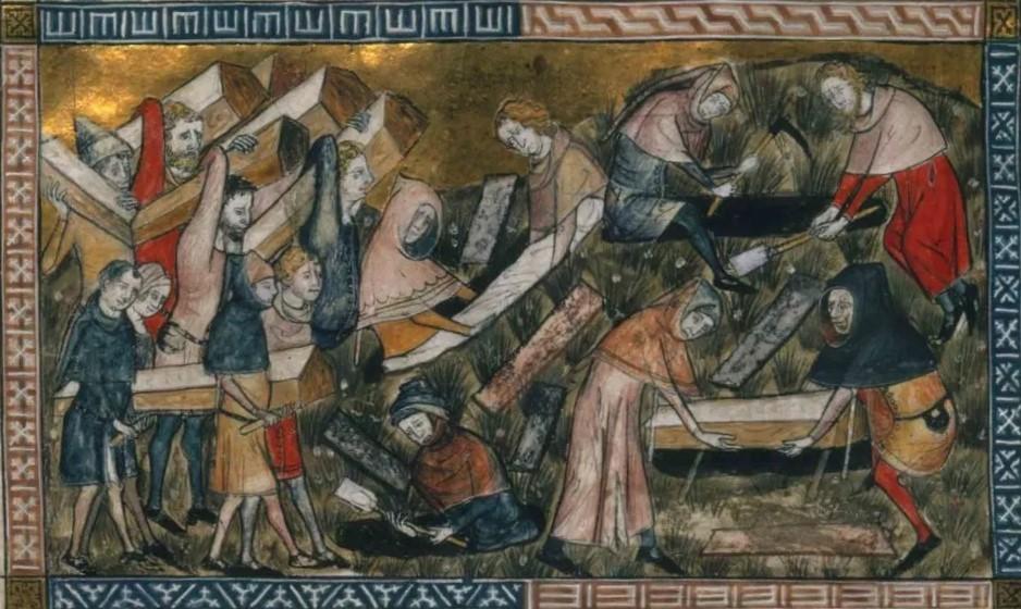 Pierart dou Tielt, Massagraf voor pestslachtoffers. In de kroniek van Gilles Le Muisit – Brussel KBR ms 13076-13077
